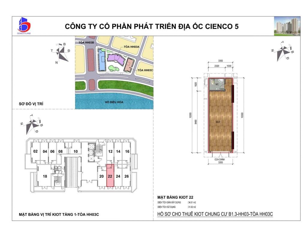Mặt bằng kiot 22 Chung Cư B1.3 HH03C Thanh Hà Cienco 5