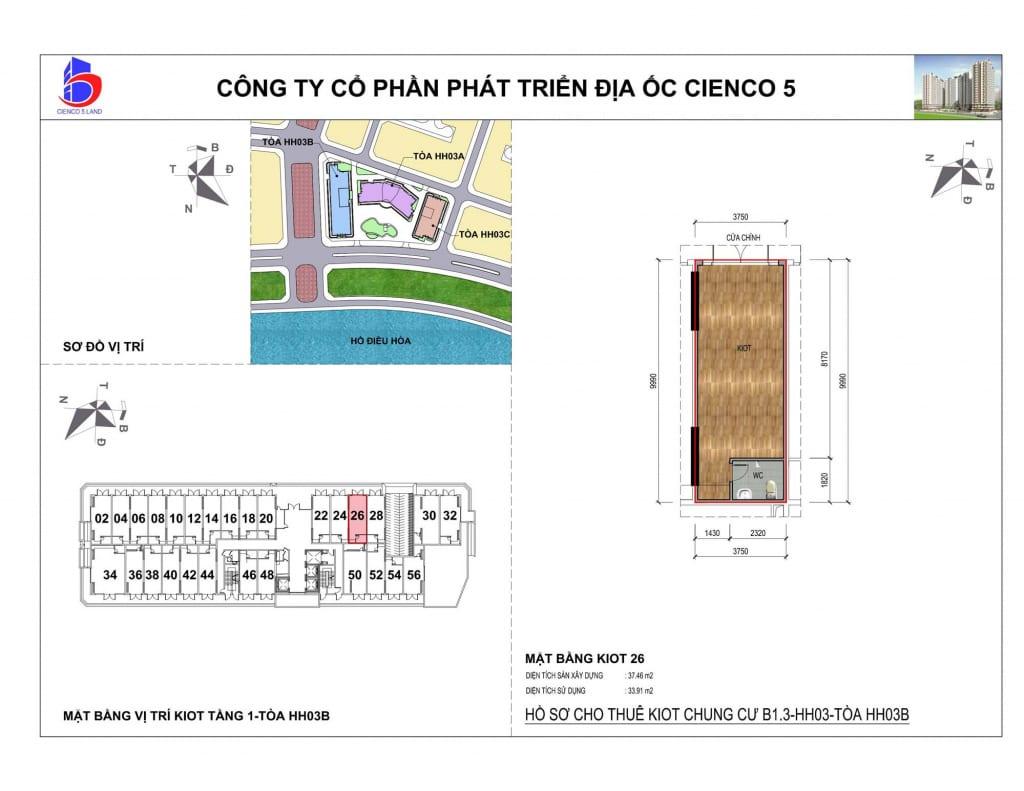 Mặt bằng kiot 26 Chung Cư B1.3 HH03B Thanh Hà Cienco 5