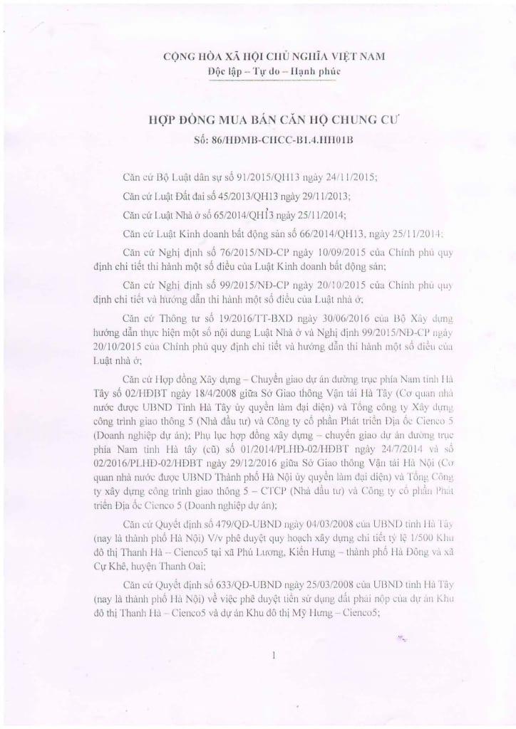 Trang 01- Mẫu hợp đồng Chung Cư B1.4 HH01 Thanh Hà Cienco 5