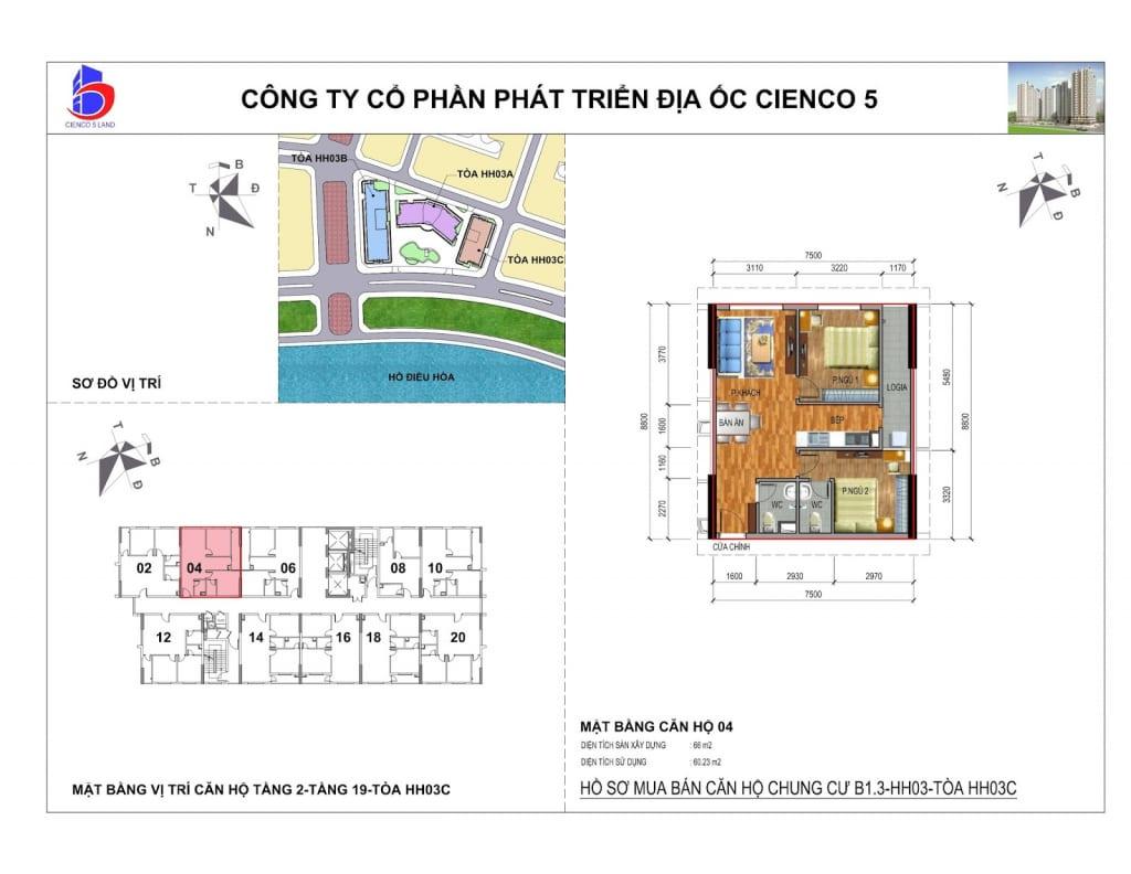 Mặt bằng căn 04 Chung Cư B1.3 HH03C Thanh Hà Cienco 5