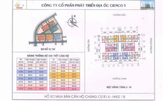 Mặt Bằng điển hình căn hộ chung cư B1.4 HH02-1B Thanh Hà