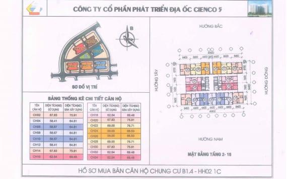 Mặt Bằng điển hình căn hộ Chung Cư B1.4 HH02-1C Thanh Hà Cienco 5