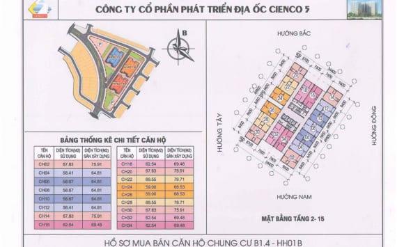 Mặt Bằng điển hình tòa HH01B Chung Cư HH01 Thanh Hà