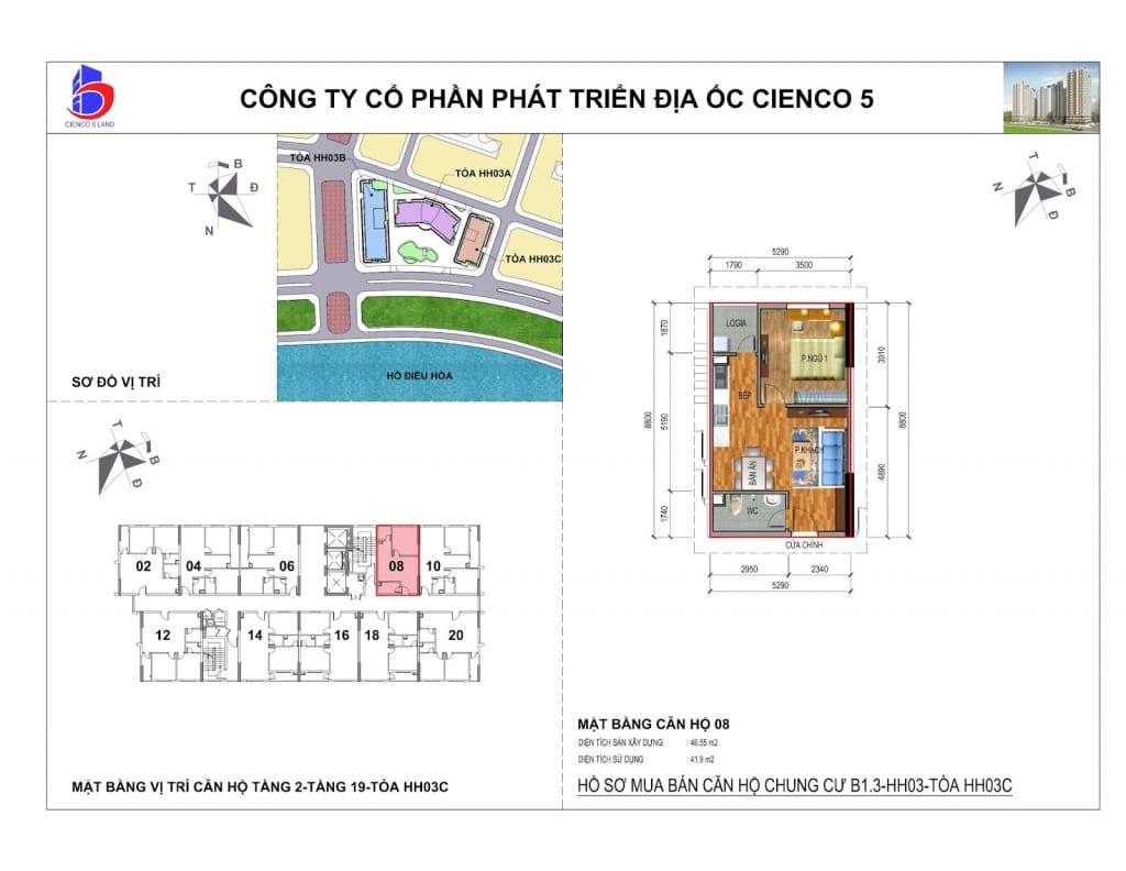 Mặt bằng căn 08 Chung Cư B1.3 HH03C Thanh Hà Cienco 5