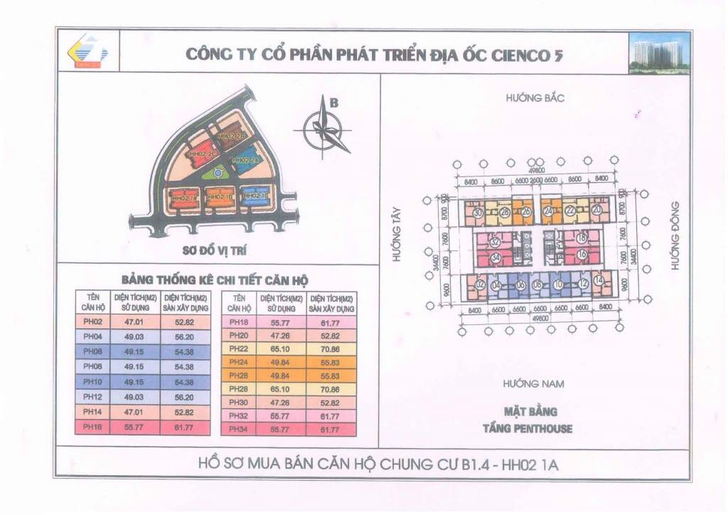 Mặt Bằng điển Hình Penthouse B1.4 HH02-1C Thanh Hà
