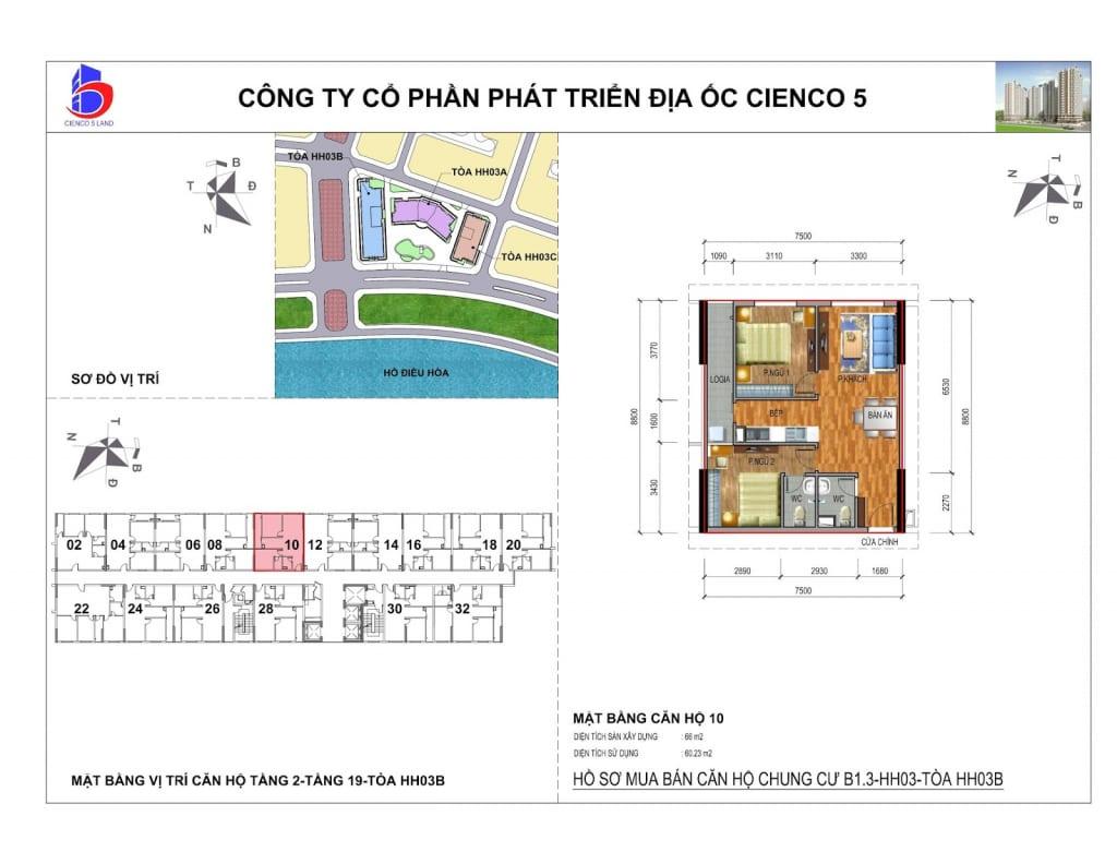 Mặt bằng căn 10 Chung Cư B1.3 HH03B Thanh Hà Cienco 5