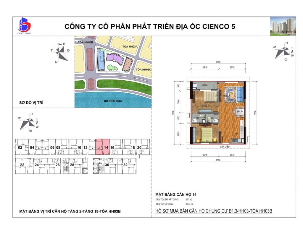 Mặt bằng căn 14 Chung Cư B1.3 HH03B Thanh Hà Cienco 5