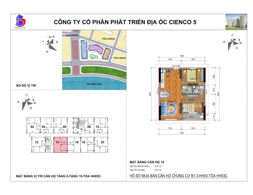 Mặt bằng căn 14 Chung Cư B1.3 HH03C Thanh Hà Cienco 5