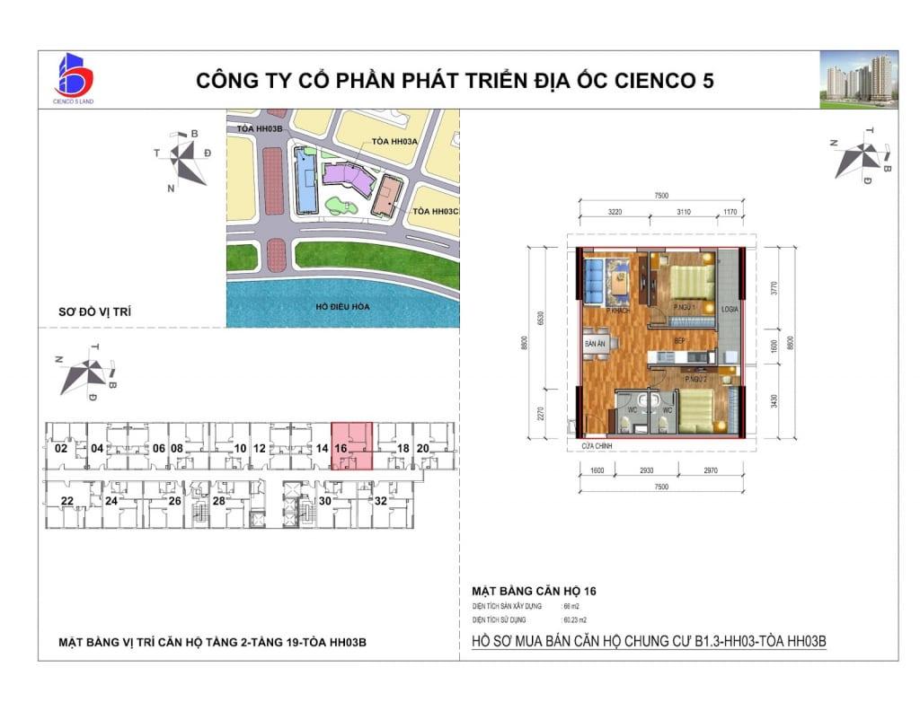 Mặt bằng căn 16 Chung Cư B1.3 HH03B Thanh Hà Cienco 5