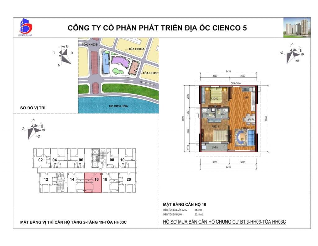 Mặt bằng căn 16 Chung Cư B1.3 HH03C Thanh Hà Cienco 5