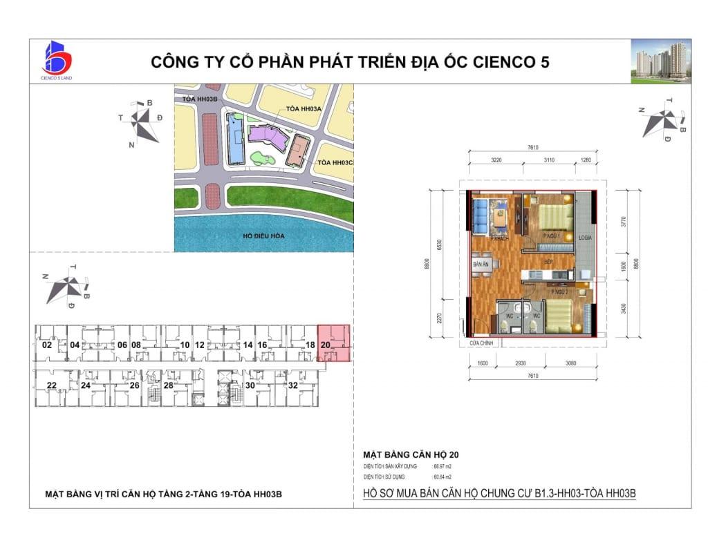 Mặt bằng căn 20 Chung Cư B1.3 HH03B Thanh Hà Cienco 5