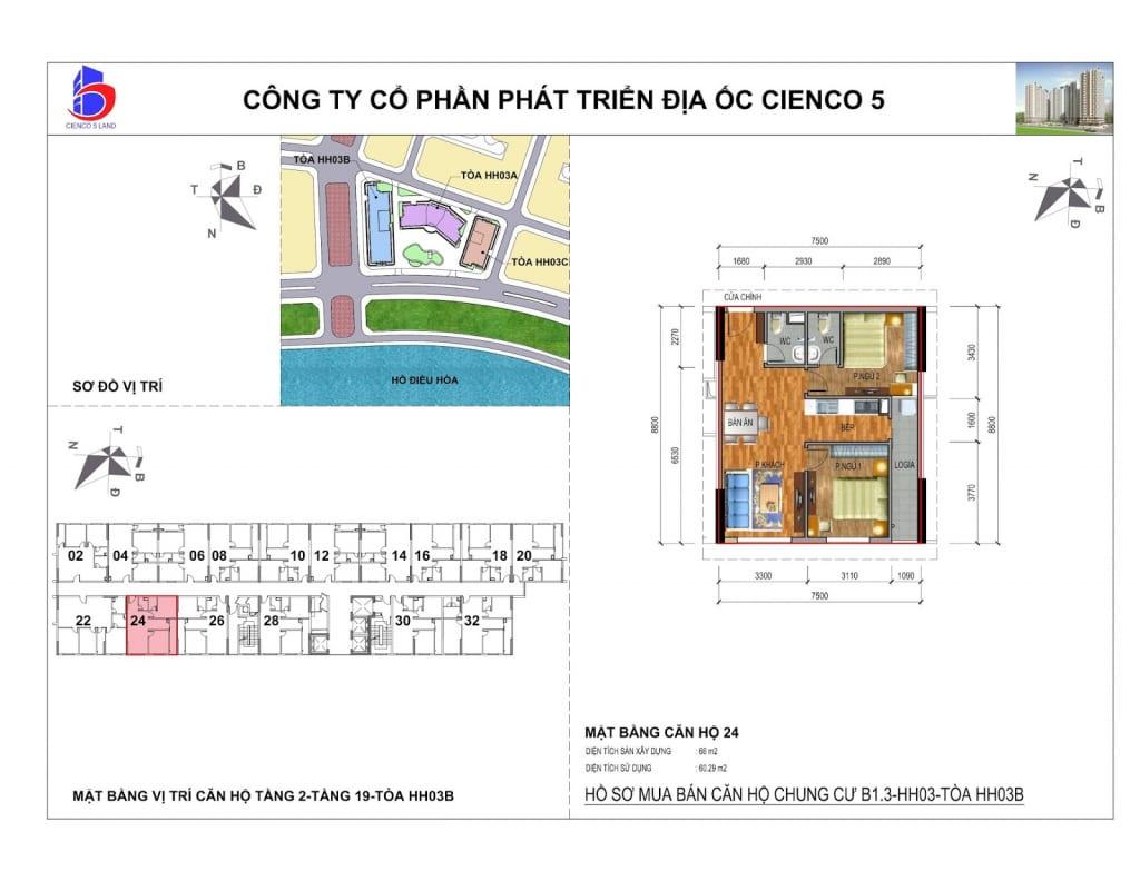 Mặt bằng căn 24 Chung Cư B1.3 HH03B Thanh Hà Cienco 5