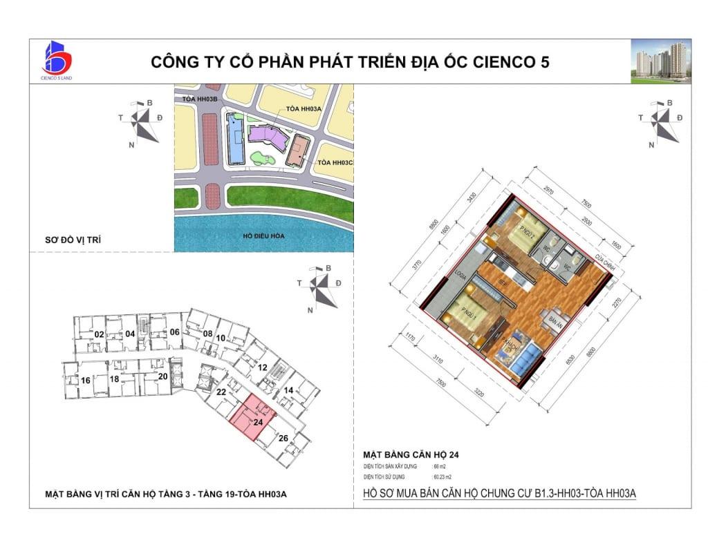 Mặt bằng căn 24 Chung Cư B1.3 HH03A Thanh Hà Cienco 5