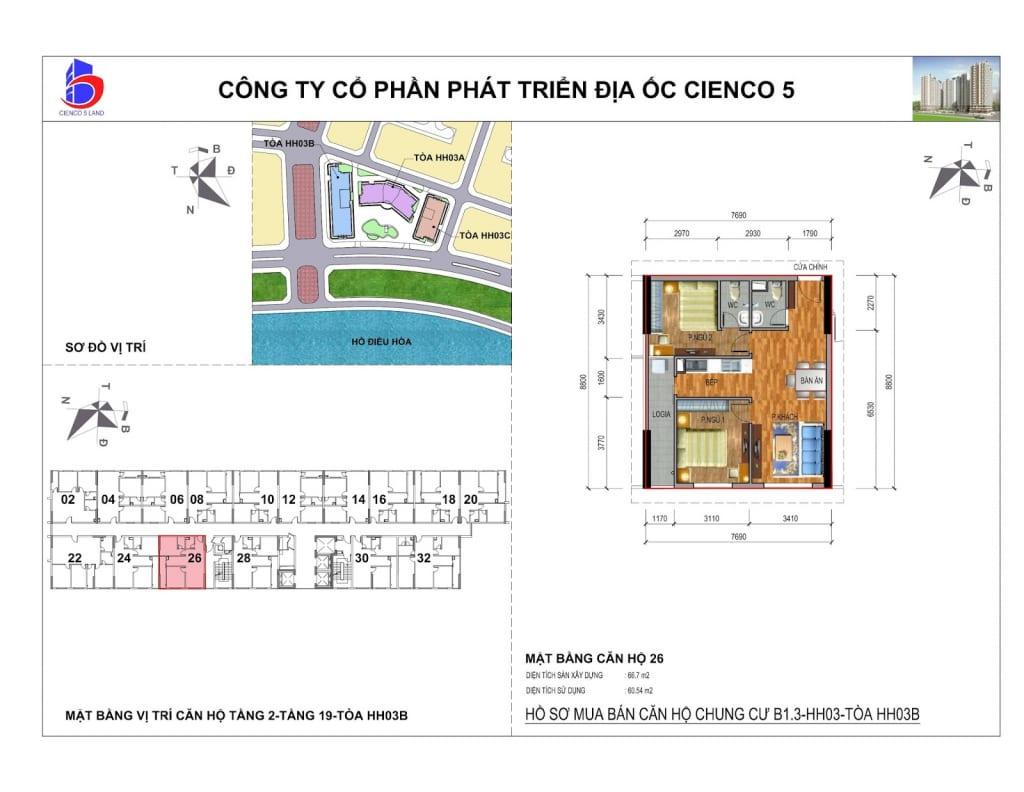 Mặt bằng căn 26 Chung Cư B1.3 HH03B Thanh Hà Cienco 5