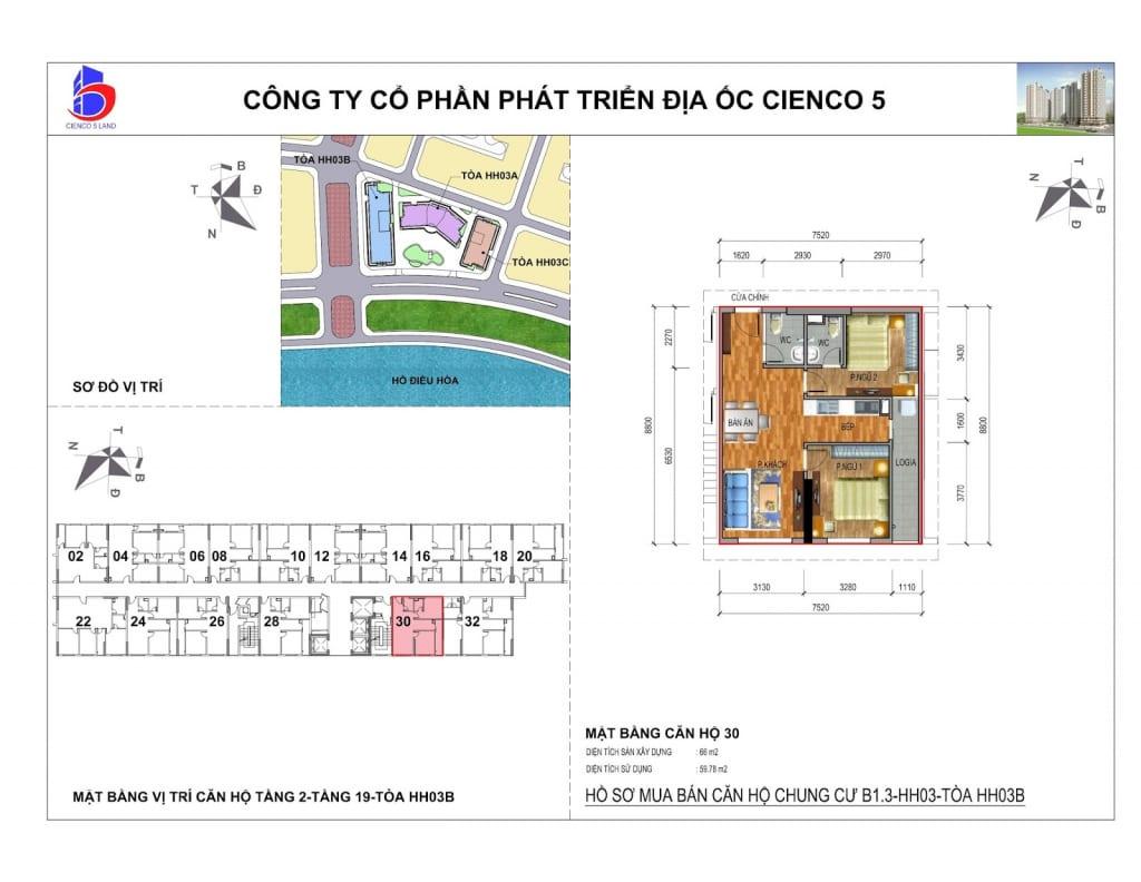 Mặt bằng căn 30 Chung Cư B1.3 HH03B Thanh Hà Cienco 5