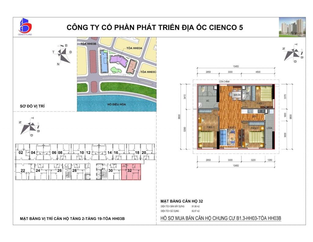 Mặt bằng căn 32 Chung Cư B1.3 HH03B Thanh Hà Cienco 5