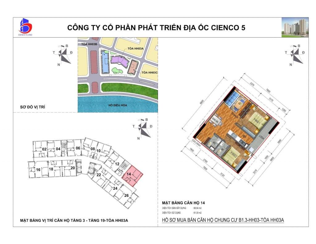 Mặt bằng căn 14 Chung Cư B1.3 HH03A Thanh Hà Cienco 5