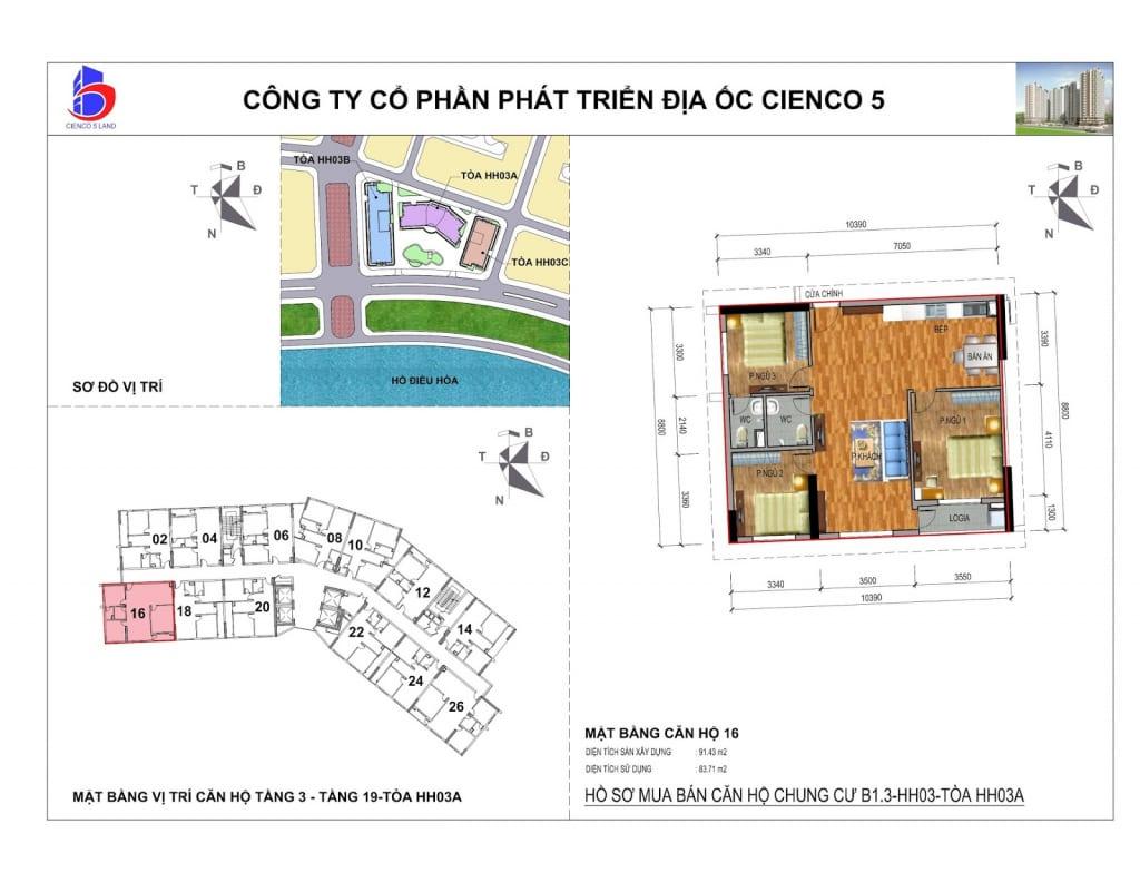 Mặt bằng căn 16 Chung Cư B1.3 HH03A Thanh Hà Cienco 5