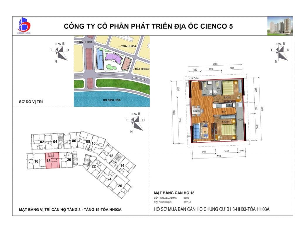 Mặt bằng căn 18 Chung Cư B1.3 HH03A Thanh Hà Cienco 5