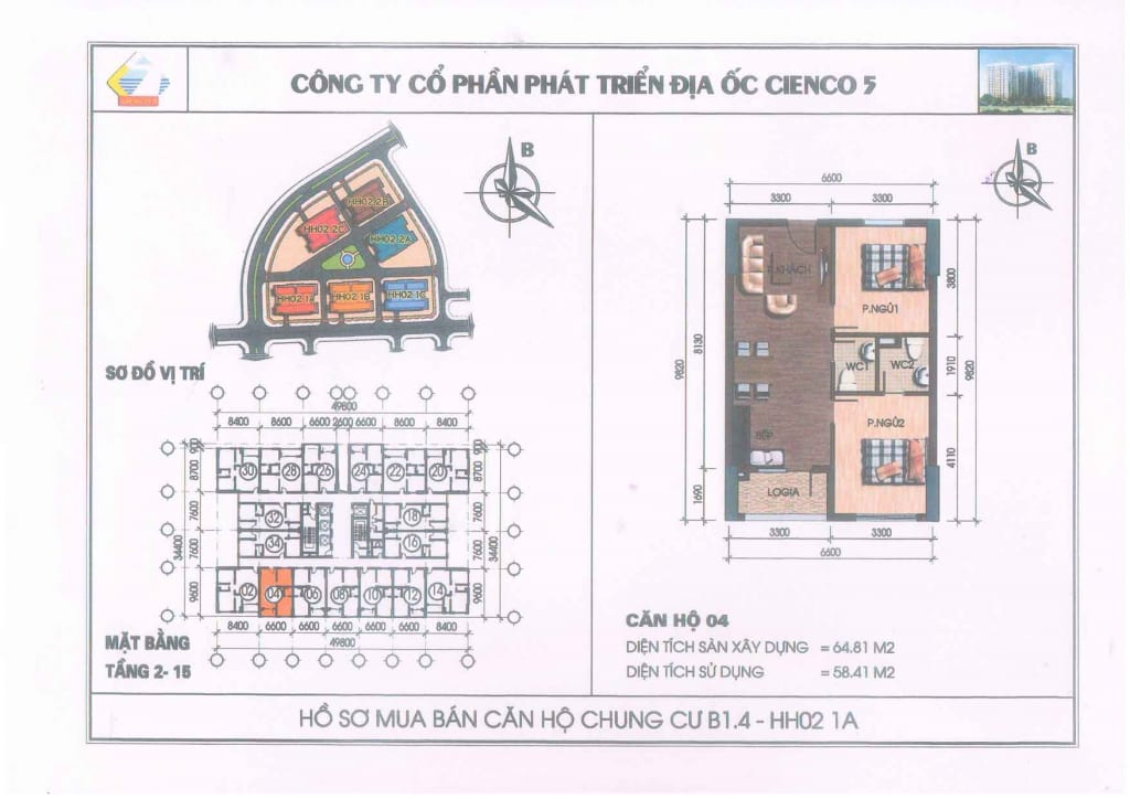 Mặt bằng căn hộ 04 Chung Cư B1.4 HH02-1A Thanh Hà Cienco 5