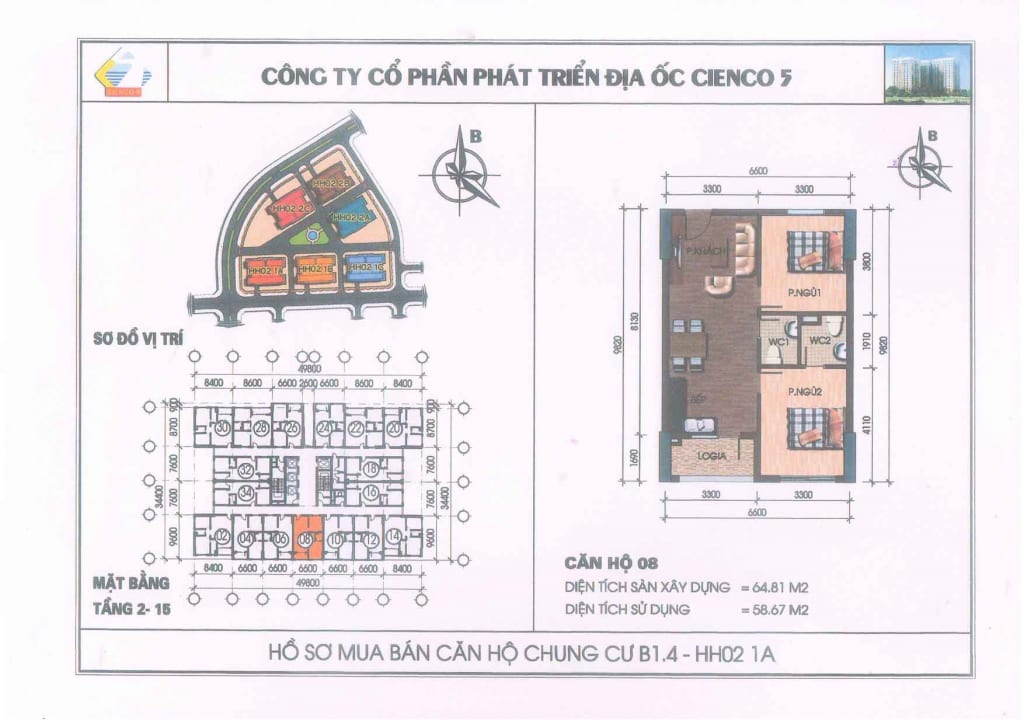 Mặt bằng căn hộ 08 Chung Cư B1.4 HH02-1A Thanh Hà Cienco 5