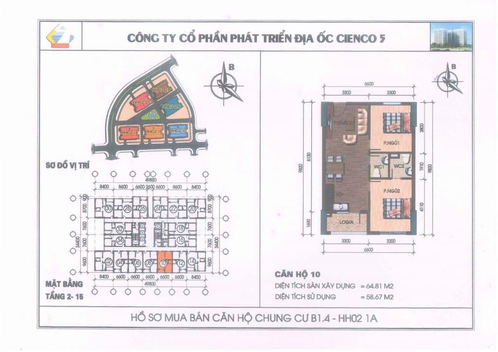 Mặt bằng căn hộ 10 Chung Cư B1.4 HH02-1A Thanh Hà Cienco 5