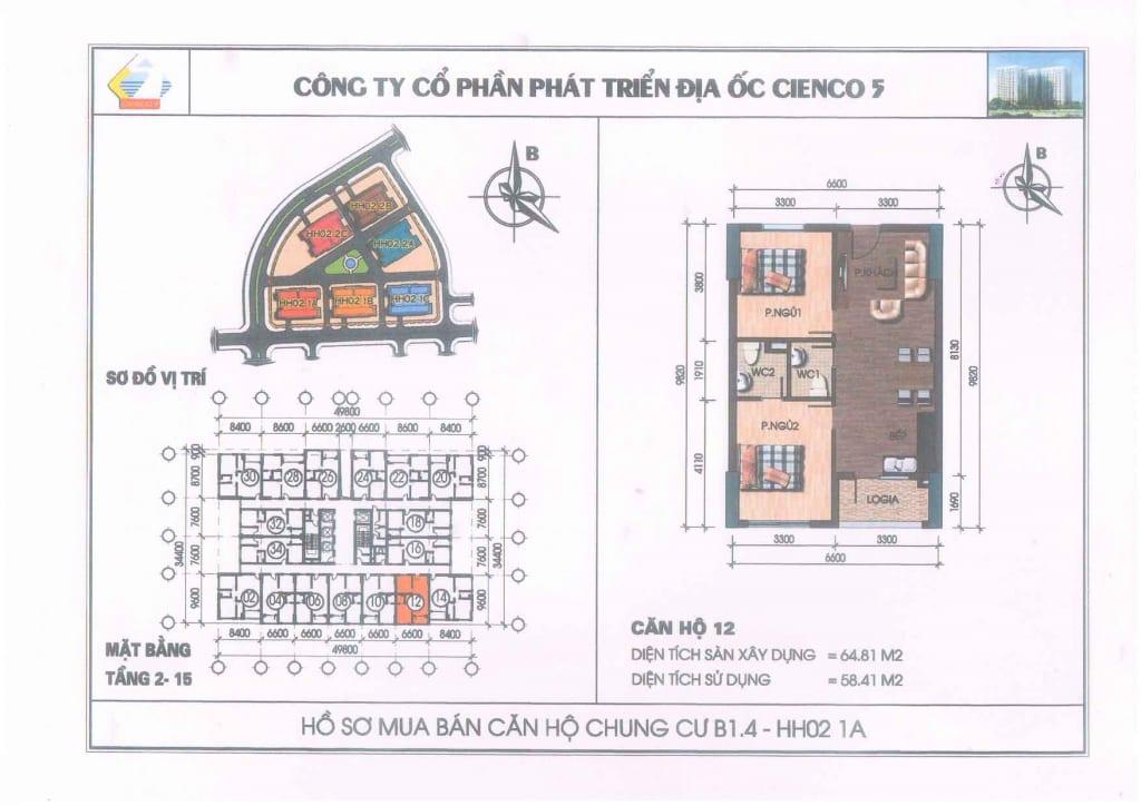 Mặt bằng căn hộ 12 Chung Cư B1.4 HH02-1A Thanh Hà Cienco 5