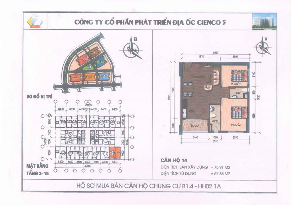 Mặt bằng căn hộ 14 Chung Cư B1.4 HH02-1A Thanh Hà Cienco 5