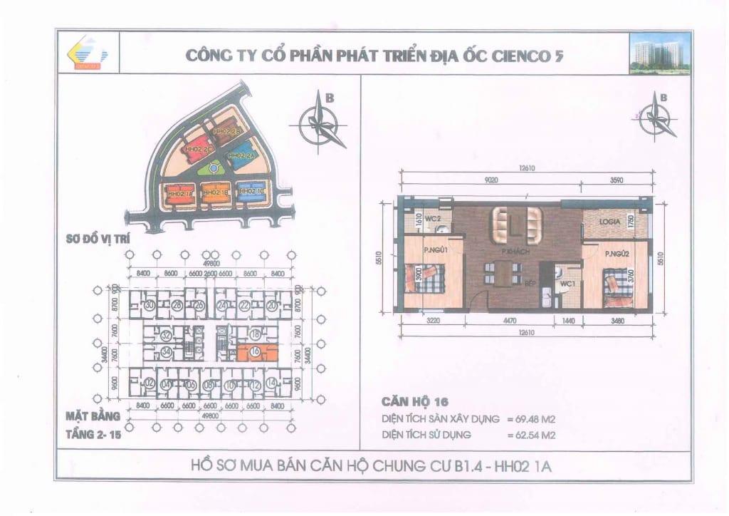 Mặt bằng căn hộ 16 Chung Cư B1.4 HH02-1A Thanh Hà Cienco 5