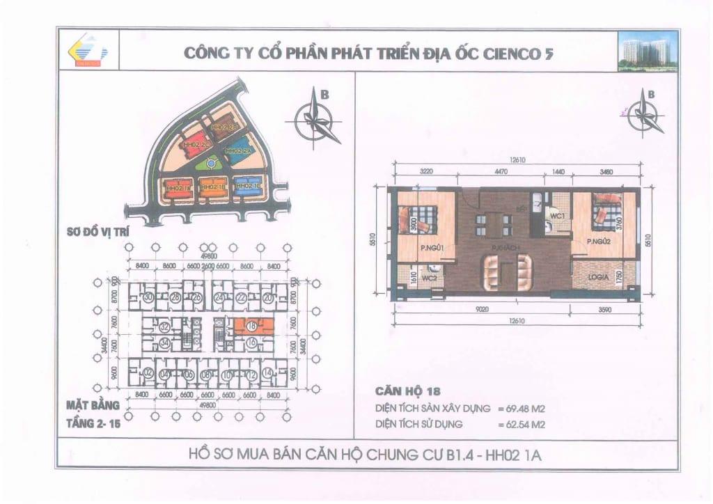 Mặt bằng căn hộ 18 Chung Cư B1.4 HH02-1A Thanh Hà Cienco 5