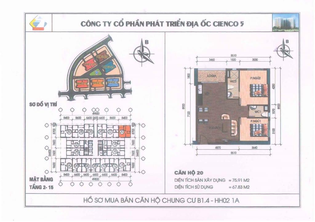 Mặt bằng căn hộ 20 Chung Cư B1.4 HH02-1A Thanh Hà Cienco 5