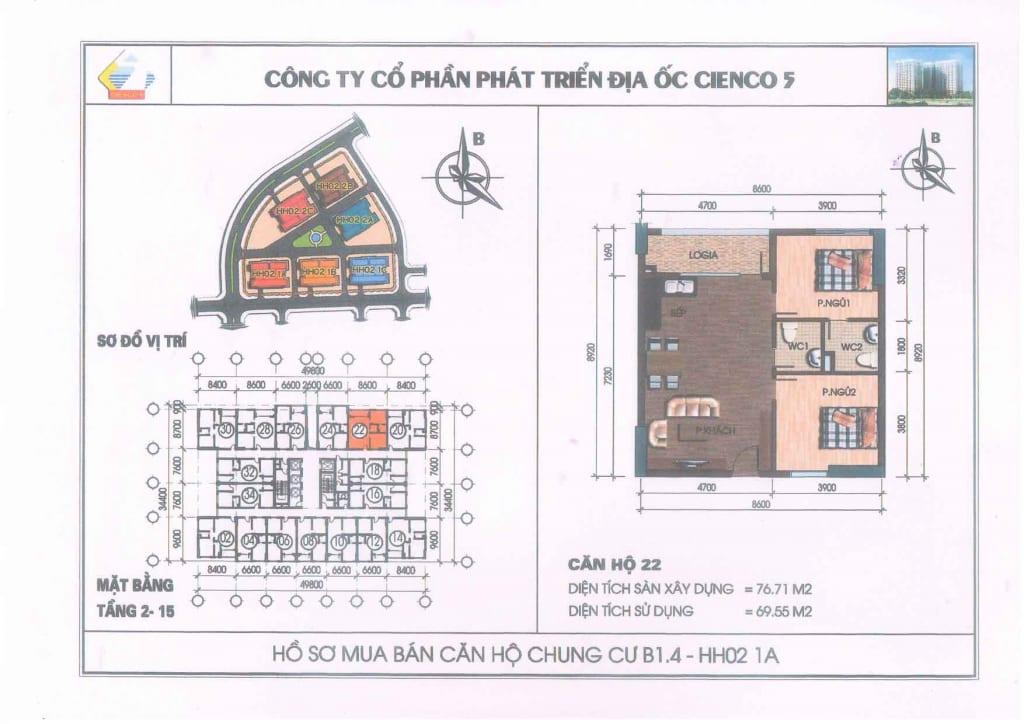 Mặt bằng căn hộ 22 Chung Cư B1.4 HH02-1A Thanh Hà Cienco 5