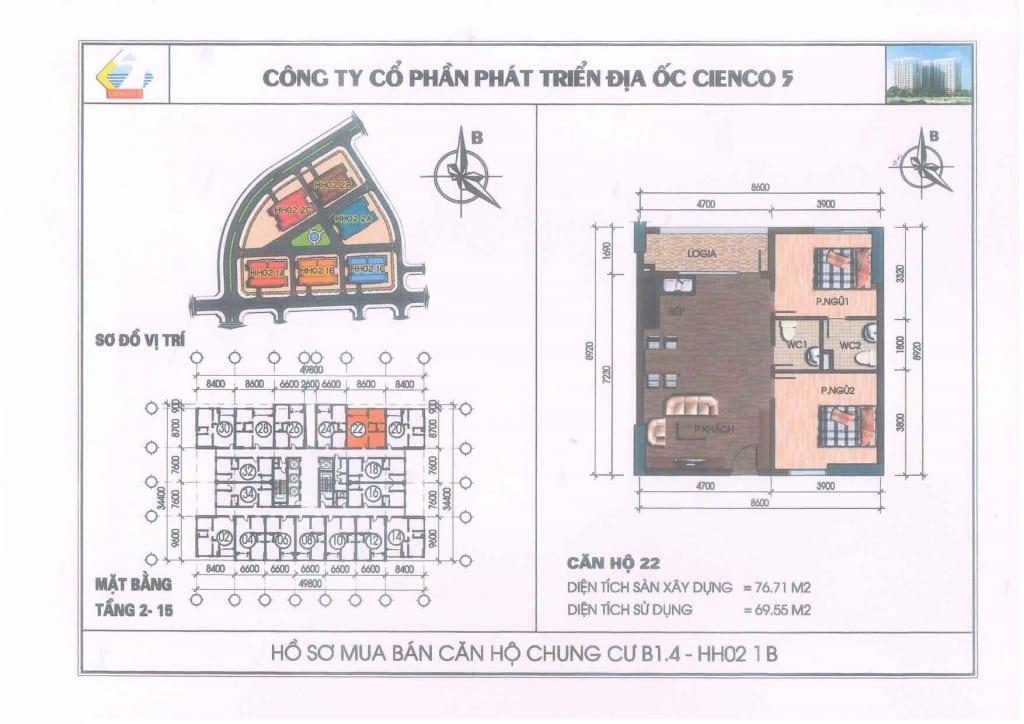 Mặt Bằng Căn 22 Chung Cư B1.4 HH02-1B Thanh Hà