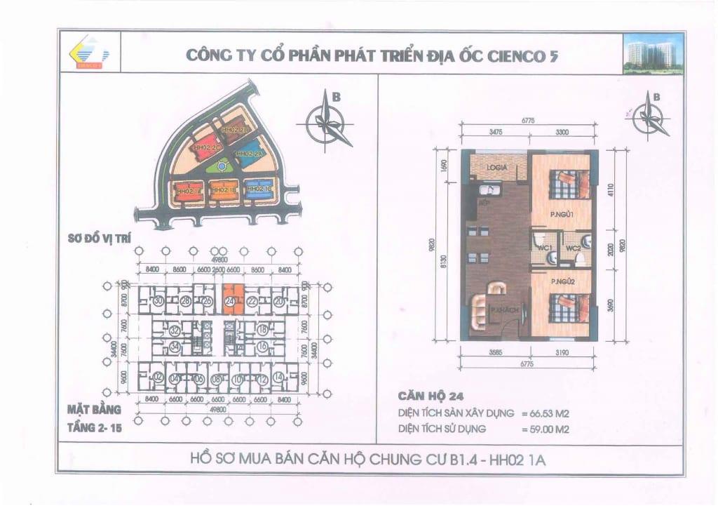 Mặt bằng căn hộ 24 Chung Cư B1.4 HH02-1A Thanh Hà Cienco 5
