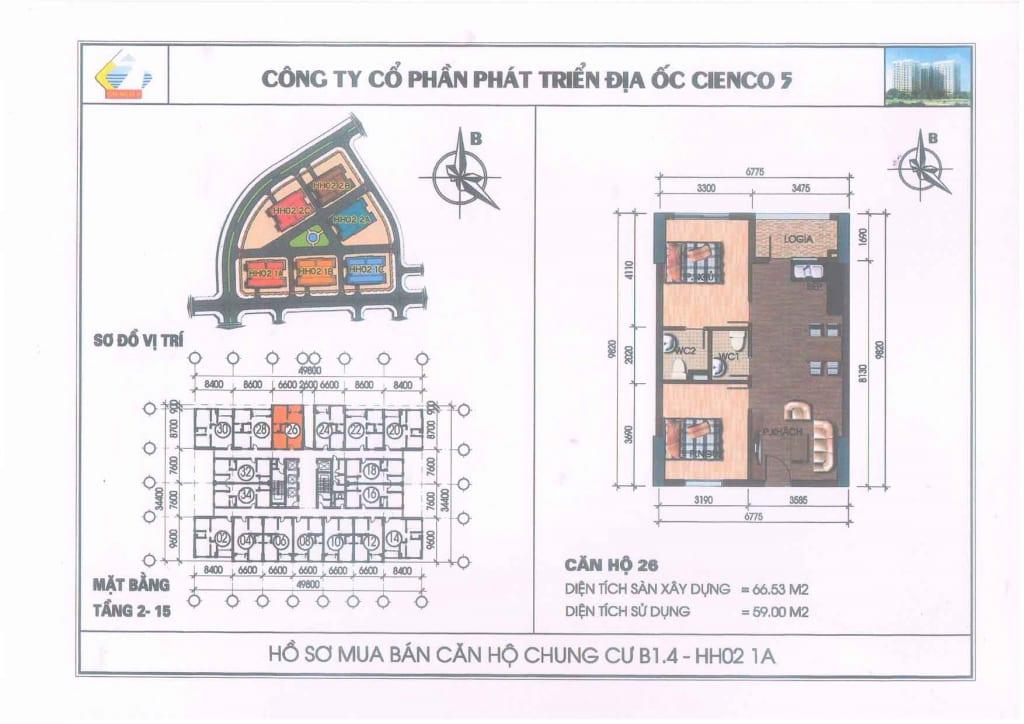 Mặt bằng căn hộ 26 Chung Cư B1.4 HH02-1A Thanh Hà Cienco 5