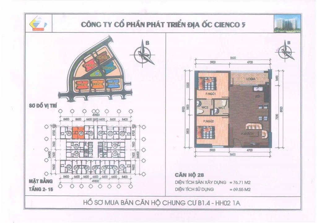 Mặt bằng căn hộ 28 Chung Cư B1.4 HH02-1A Thanh Hà Cienco 5