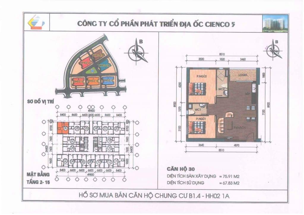 Mặt bằng căn hộ 30 Chung Cư B1.4 HH02-1A Thanh Hà Cienco 5
