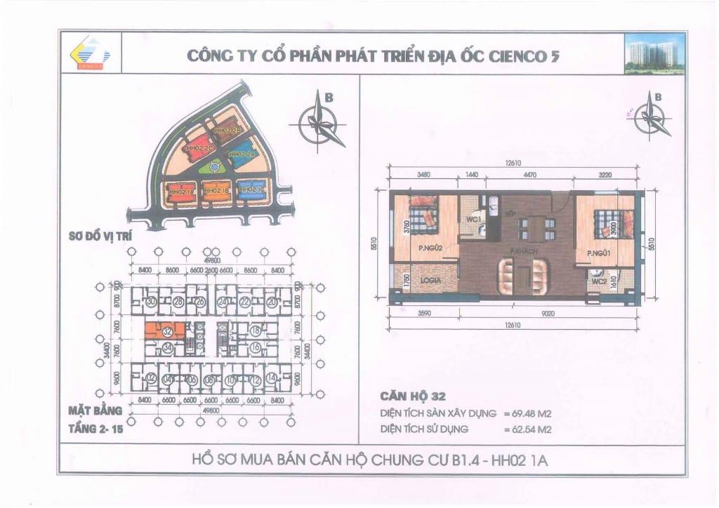 Mặt bằng căn hộ 32 Chung Cư B1.4 HH02-1A Thanh Hà Cienco 5