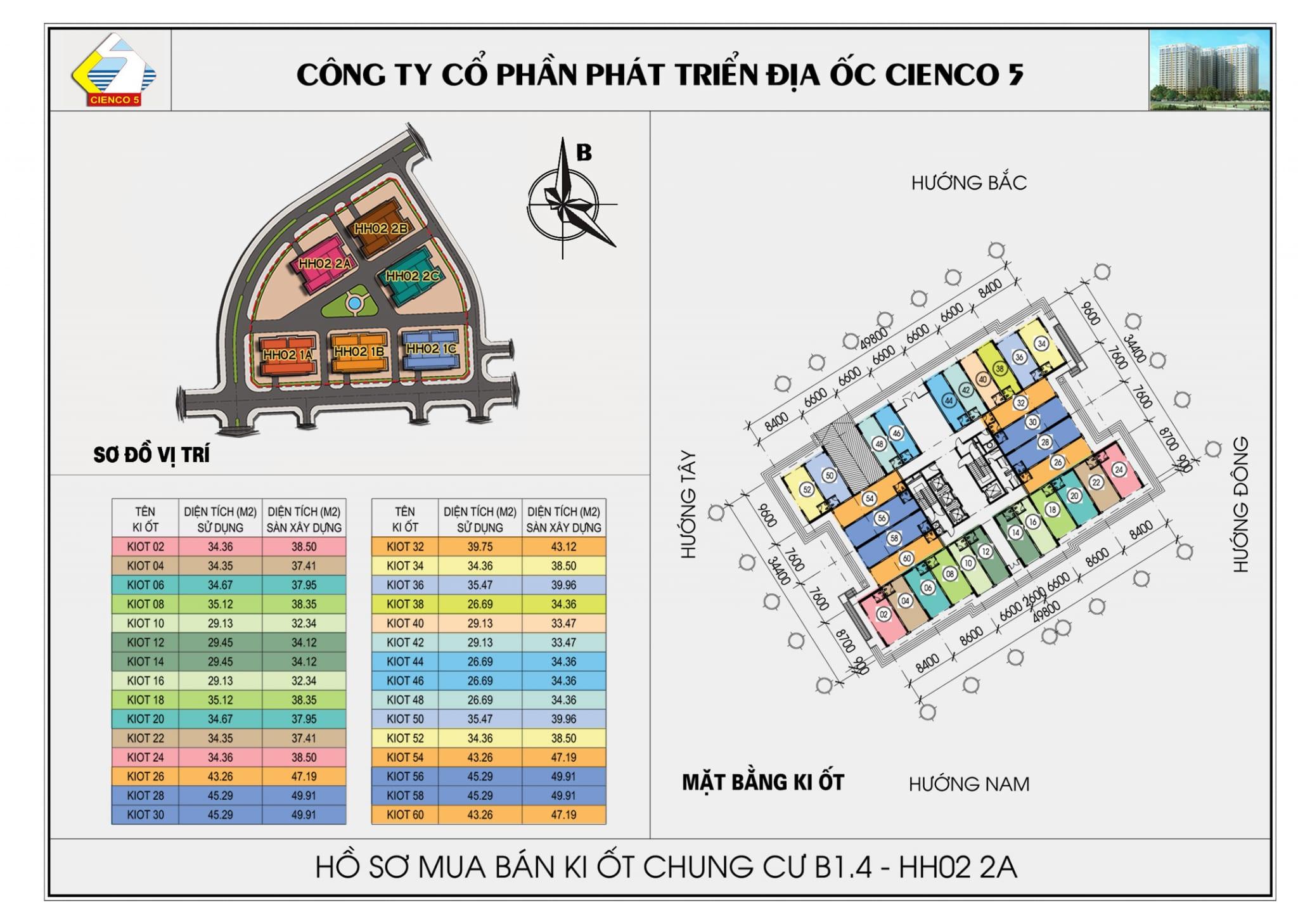 Mặt bằng Kiot Chung Cư B1.4 HH02-2A Thanh Hà Cienco 5