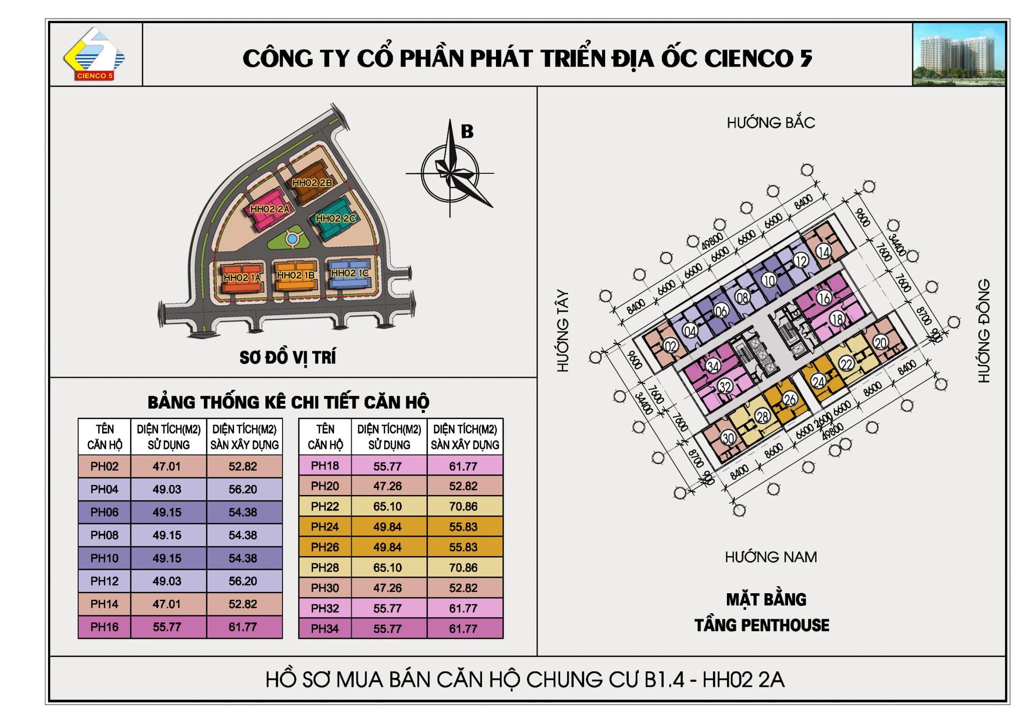 Mặt bằng Penthouse B1.4 HH02-2A Thanh Hà Cienco 5