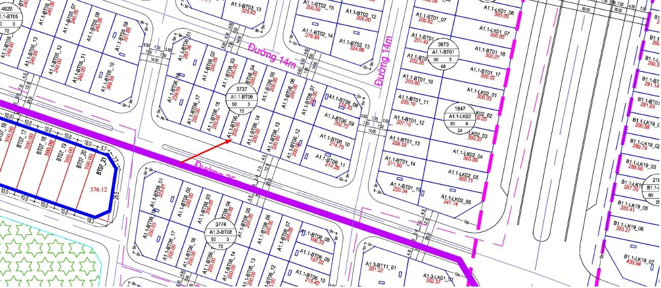 Bán ô đất nền biệt Thự Thanh Hà đường 25m A1.1 - BT06 - ô số 15