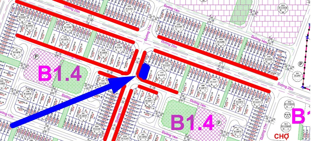 bán biệt thự Thanh Hà ô góc B1.4 - BT12 - Ô số 1