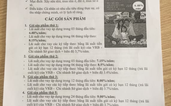 Gói vay vốn ngân hàng Liên doanh Việt Nga VRB