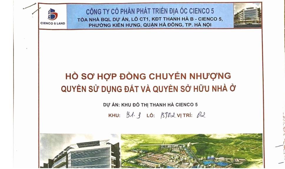 hồ sơ chuyển nhượng biệt thự Thanh Hà