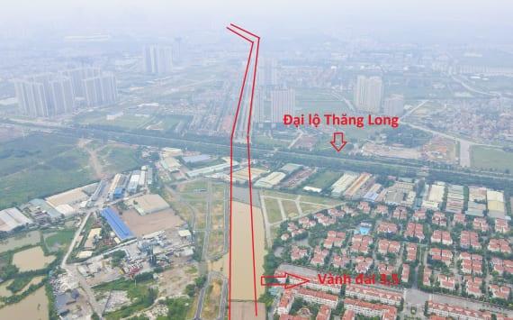 Tuyến đường vành đai 3,5 đoạn qua địa bàn huyện Hoài Đức có điểm đầu tiếp giáp nút giao với Đại lộ Thăng Long