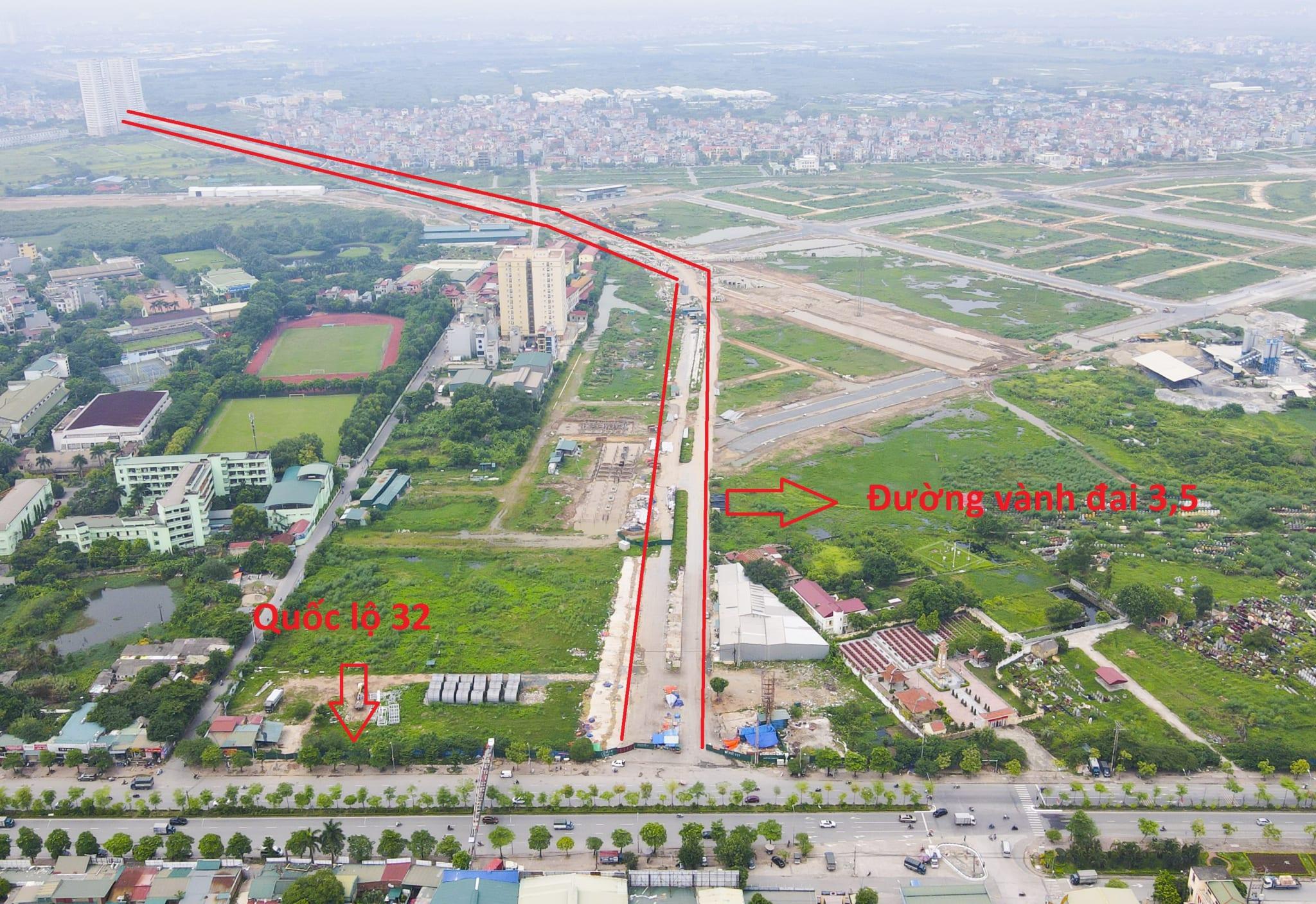 Cuối tuyến giao với đường 32 đoạn qua cổng chào huyện Hoài Đức, đi qua các xã An Khánh, Vân Canh, Di Trạch, Kim Chung