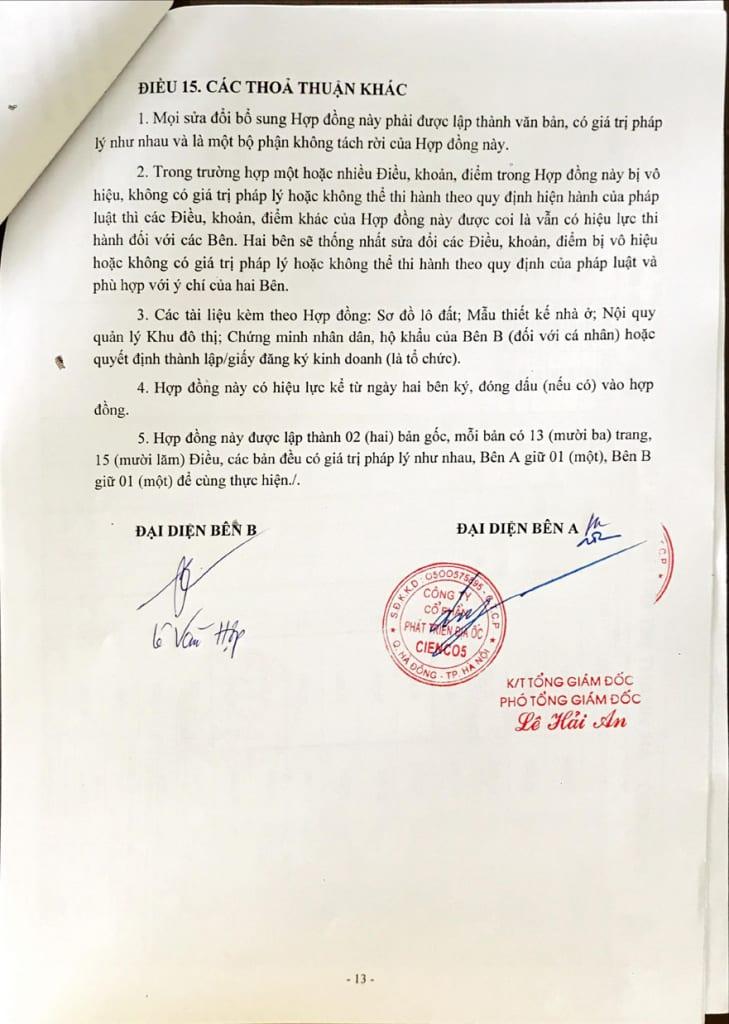 Trang 13 - Hợp đồng Mua bán Shophouse Thanh Hà Cienco 5