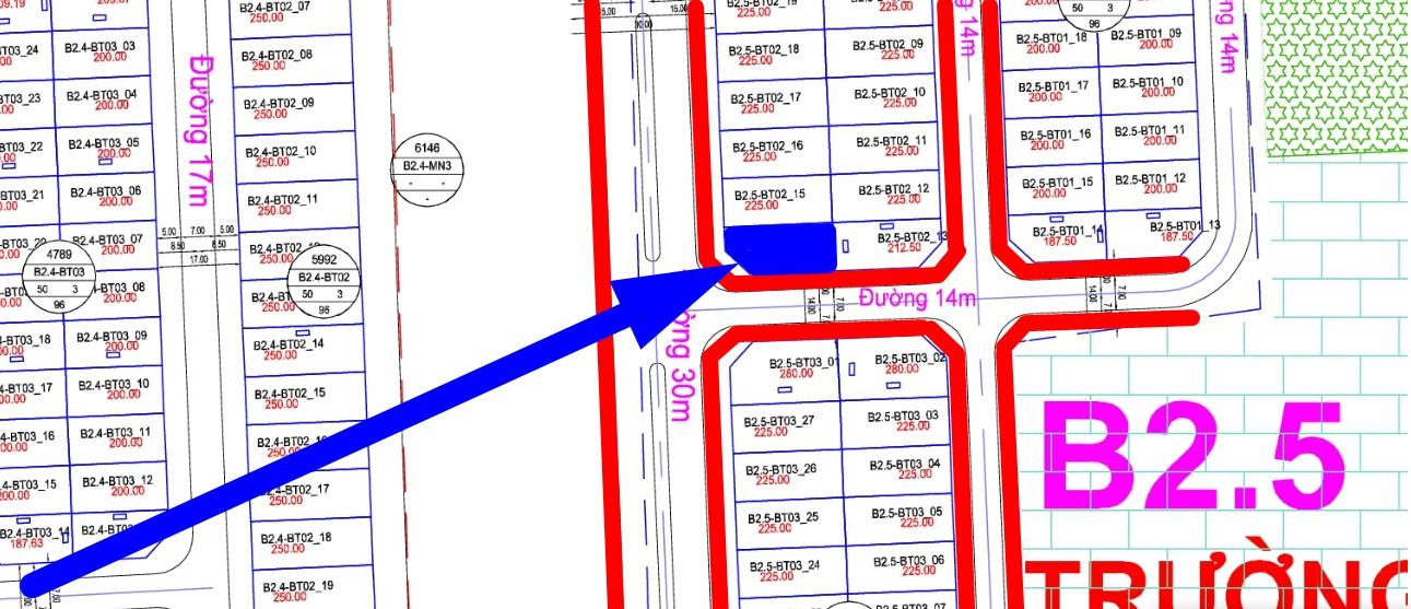 bán biệt thự thanh hà ô góc đường 30m B2.5 - BT02 - ô số 14