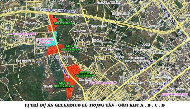 Vị trí dự án khu đô thị Geleximco Lê Trọng Tấn