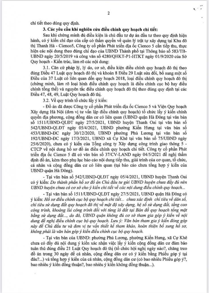 Trang 2 - Văn bản Trả lời Sở Quy Hoạch Kiến Trúc Hà Nội Đối Với Khu Đô Thị Thanh Hà